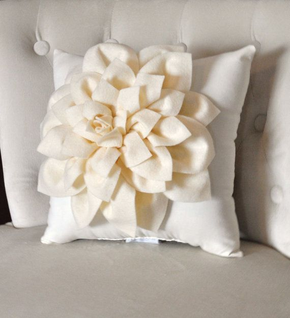 BLACK FRIDAY Ivory Dahlia Felt Flower on Ivory Pillow -Pick your Colors- Mum…