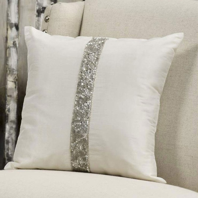Cream Faux Silk Pillow With Beads & Sequins